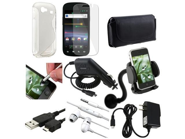 9in 1 Accessory White Case Cover Guard Film Bundle compatible with Samsung© Google Nexus S