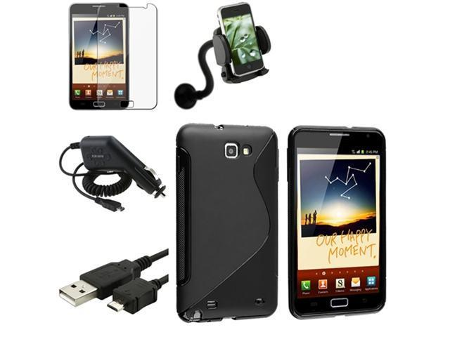Black S Line TPU Case+LCD+Charger+USB+Mount Holder compatible with Samsung© Galaxy Note N7000