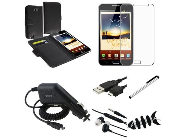 7in1 Accessory Black Pouch Case+Charger+SP Bundle compatible with Samsung© Galaxy Note N7000