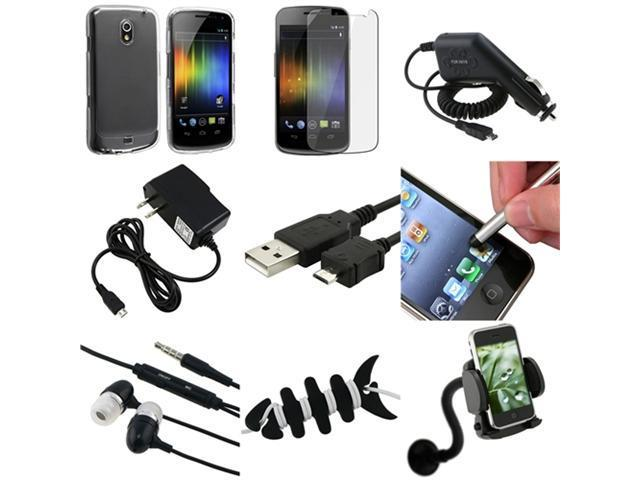 9 Accessory Clear Hard Case+LCD+Charger+USB+Mount compatible with Samsung© Galaxy Nexus i9250