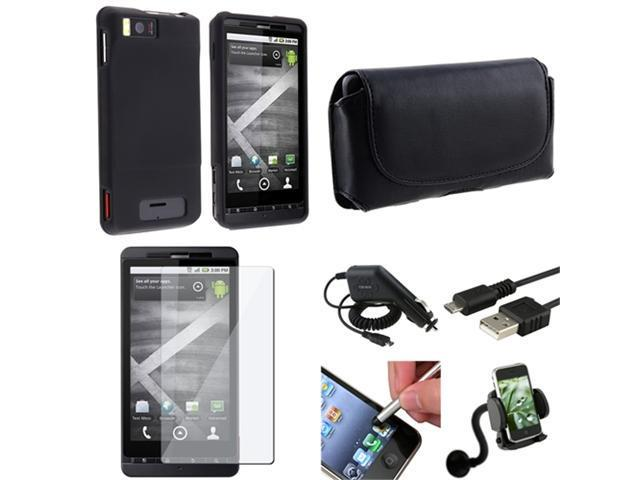7pc Accessory Bundle Black Case Cover Charger Film Holder compatible with Motorola Droid X