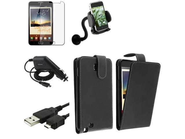 Black Flip Leather Case+Film+Charger+Holder+USB compatible with Samsung© Galaxy Note N7000