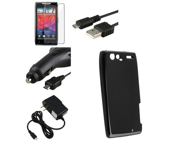 Black Hybrid TPU Case+Guard+Chargers+Cable compatible with Motorola Droid RAZR Maxx XT916