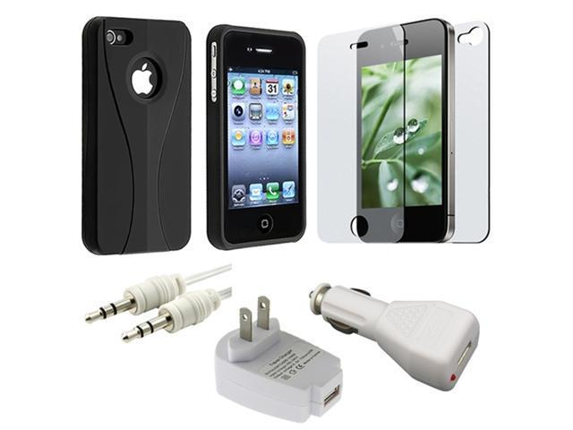 Black 3-PIECE Hard Case+Car+Home Charger+2 Guard+Cable for iPhone® 4 4S G OS