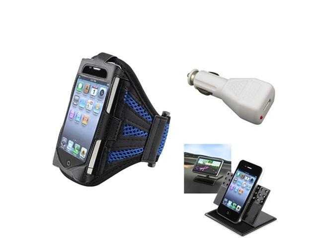 Black/Dark Blue Sportband Armband Case Cover+Car Charger+Holder For iPhone® 4 4S