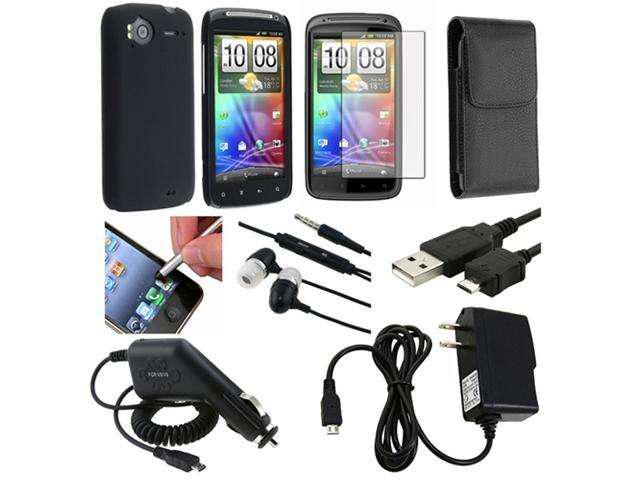 All in One Accessory Black Case Headset LCD USB Charger compatible with HTC Sensation 4G