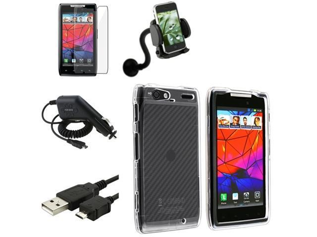 5 Accessory Clear Case+Charger+Holder Mount compatible with Motorola Droid RAZR Maxx XT916