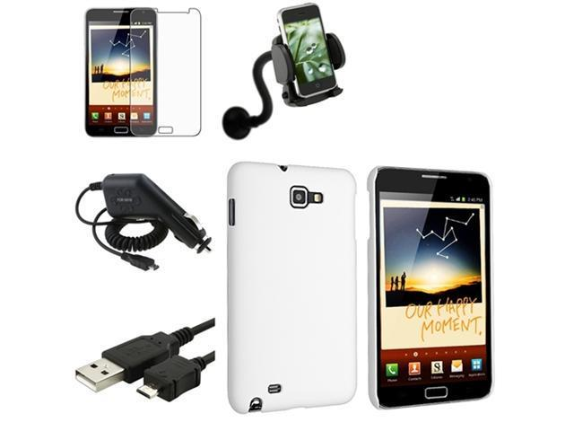 White Rubber Hard Case+Pro+Charger+USB+Car Mount compatible with Samsung© Galaxy Note N7000