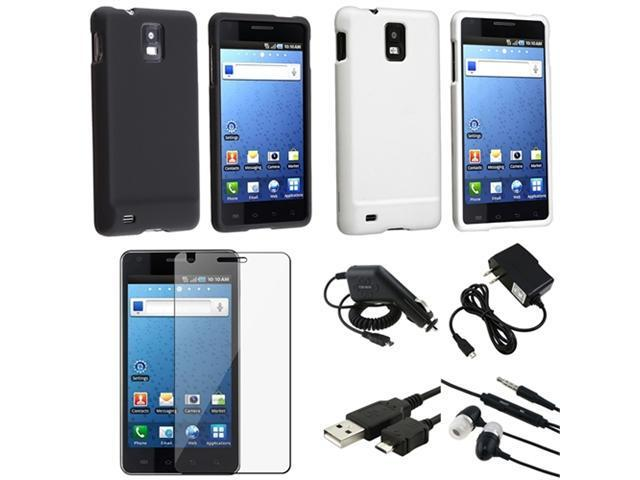 Black+White Hard Case+LCD+Charger+Cable+Headset compatible with Samsung© Infuse SGH-i997 4G