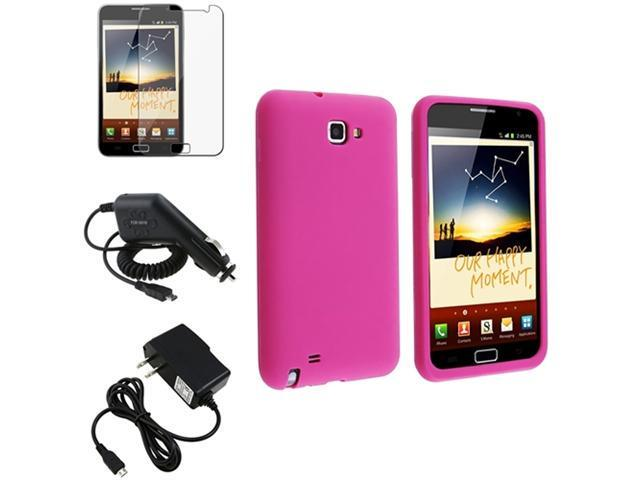 Pink Skin Case Cover+LCD Film+Car+AC Charger compatible with Samsung© Galaxy Note N7000
