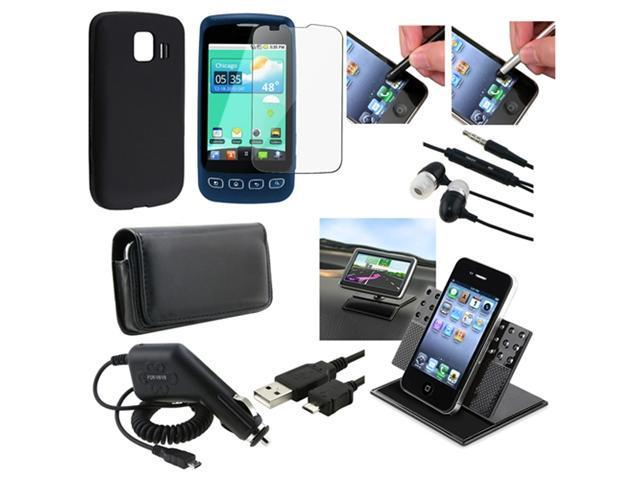 9 Accessory Bundle compatible with LG Optimus S LS670 Black Silicone Case Stylus Mount Cable