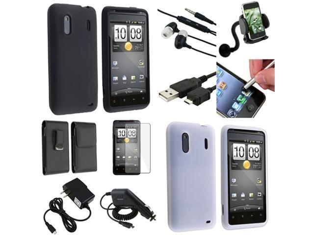10x Accessory Black Skin Case Charger Guard Headset compatible with HTC Hero S EVO Design 4G