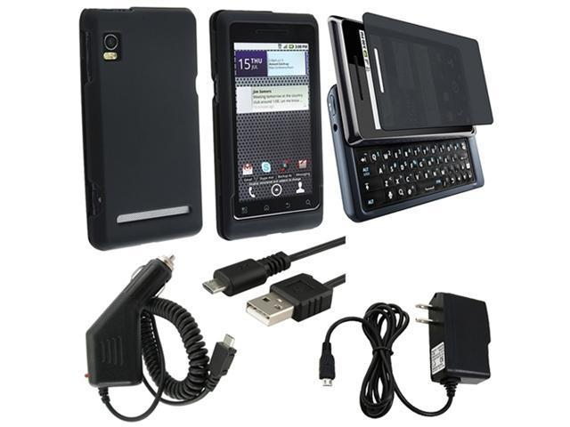 compatible with Motorola Droid 2 Global Black Case+Car Wall Charger+Protector+USB