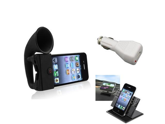 Silicone Horn Stand Speaker Black+Car Charger+Dashboard Mount For iPhone® 4 4S