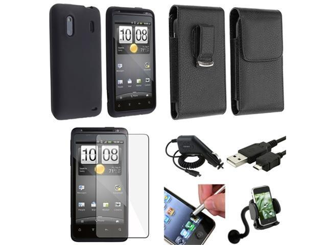 7x Accessory Bundle Case Charger LCD Film Holder compatible with HTC Hero S EVO Design 4G