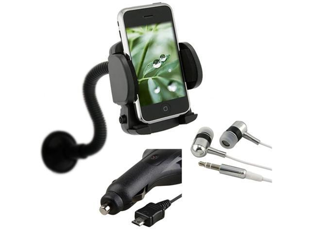 Car Charger+Mount+ Bk Headset compatible with Samsung© Infuse 4G