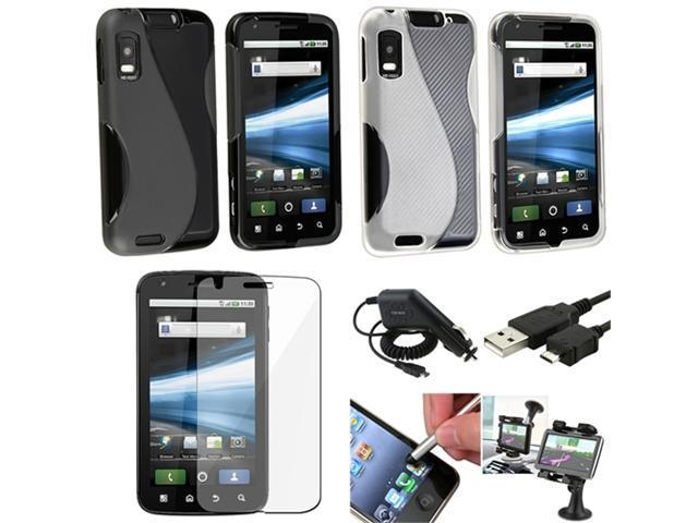 7 Accessory Black Case Mount USB LCD Charger Combo compatible with Motorola Atrix 4G MB860
