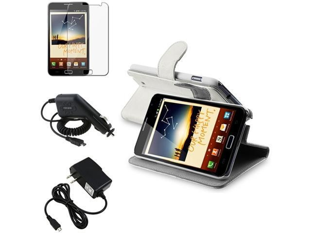 White Horizontal Flip Leather Case+LCD+2x Charger compatible with Samsung© Galaxy Note N7000