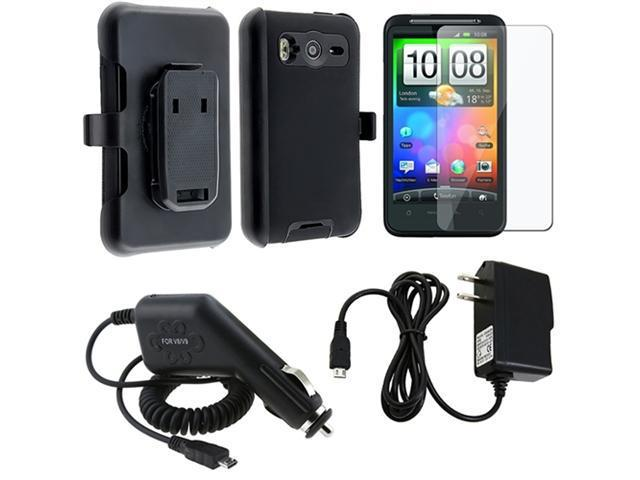 Black Holster Clip+Case+Car+Wall Charger+LCD Pro compatible with HTC Inspire 4G Desire HD