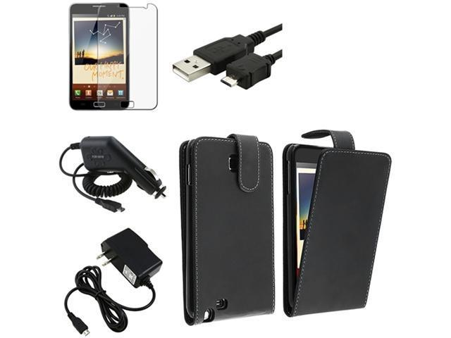 Black Flip Leather Case+LCD+Car+Home Charger+Cable compatible with Samsung© Galaxy Note N7000