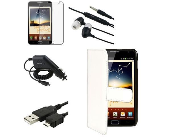 5in1 Accessory compatible with Samsung© Galaxy Note N7000 Case Flip Leather+Charger+Headset