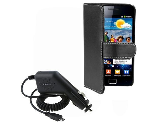 Black Soft Leather Wallet Skin Case+Car Charger compatible with Samsung© Galaxy S II i9100