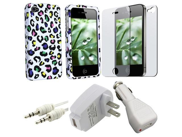 LEOPARD HARD WHITE CASE+FILM+CABLE+CAR+AC CHARGER for iPhone® 4 4S 4GS 4G