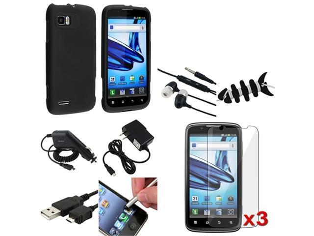 Mega Accessory Pack Black Case+LCD+Headset+USB compatible with Motorola Atrix 2 MB865