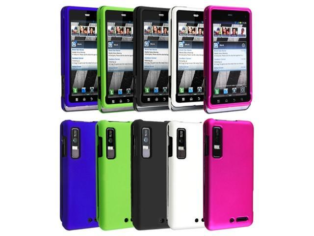 5in1 Bundle Black+White++Pink+Green+Blue Case Cover compatible with Motorola Droid 3 XT862