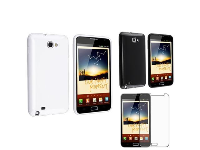 White+Black 2in1 Soft TPU Skin Case+LCD SP Film compatible with Samsung© Galaxy Note N7000