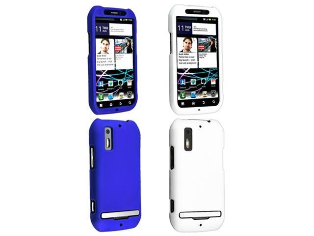 2 Bundle For Motorola Photon 4G MB855 White+Blue Rubber Coated Hard Case Cover