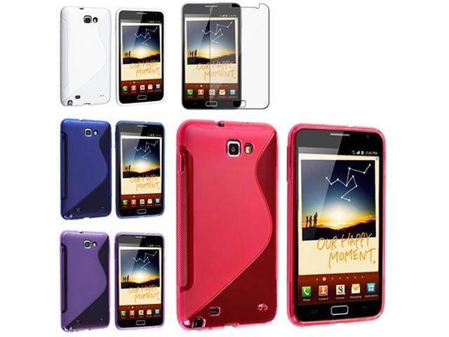 Blue+White+Pink+Purple 4x Skin Gel Case+Protector compatible with Samsung© Galaxy Note N7000