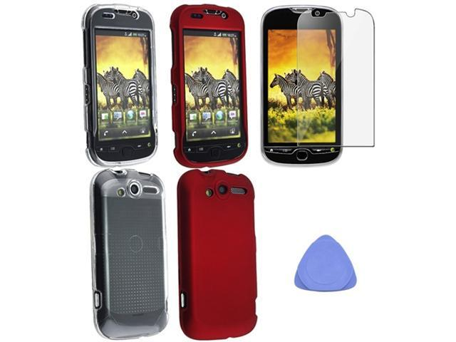 For HTC myTouch 4G Red+Clear Clip-On Hard Case Cover+LCD Protector Film+Tool