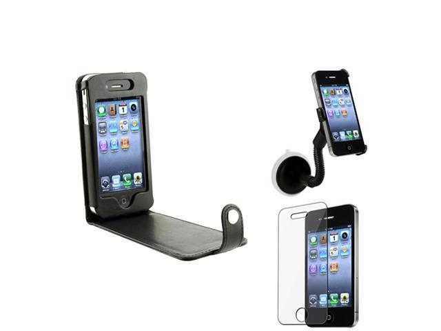 Flip leather Case Cover+Car Mount+Screen Accessory Compatible With Apple® iPhone® 4 s 4s 4G