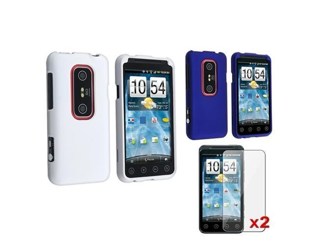 White+Blue Snap-on Rubberized Coated Hard Case Cover+2pc LCD Film For HTC EVO 3D