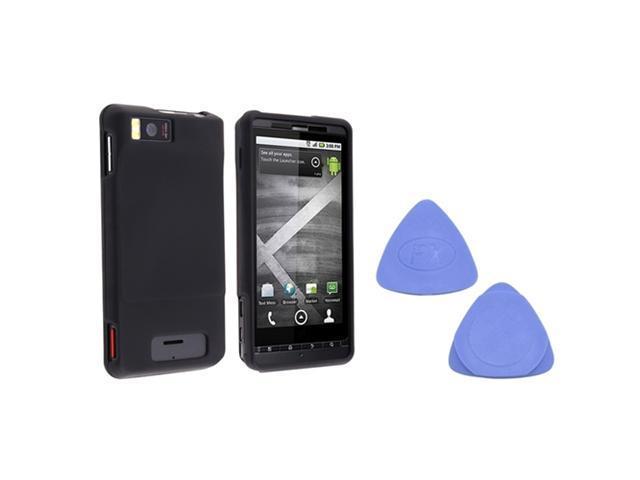 For Motorola Droid X2 Phone Black Rubber Hard Case Cover Skin+Tool Premium