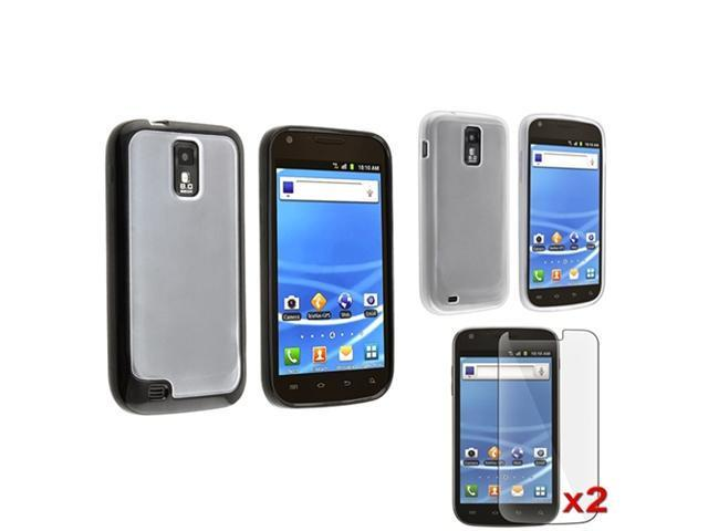 Black+Clear Trim Clear TPU Case+2 Protector compatible with Samsung© Galaxy S2 T989 T-Mobile