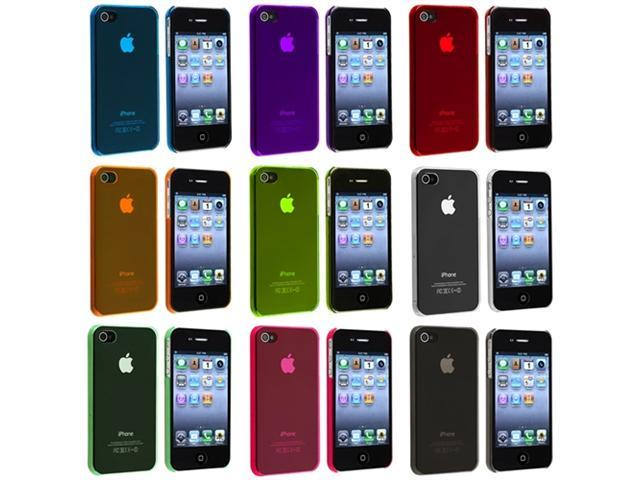 9 Accessory Bundle Hard Case Cover Compatible With iPhone® 4 4S Yellow+Purple+Clear+Red+Blue