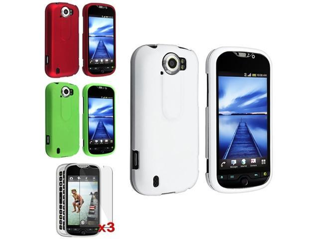 White+Red+Green Snap on Hard Case+3x Film For HTC T-Mobile MyTouch 4G Slide