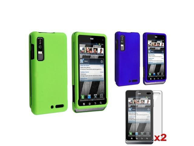 Green+Blue Snap on Rubber Hard Coated Case+2 LCD SP For Motorola Droid 3 XT862