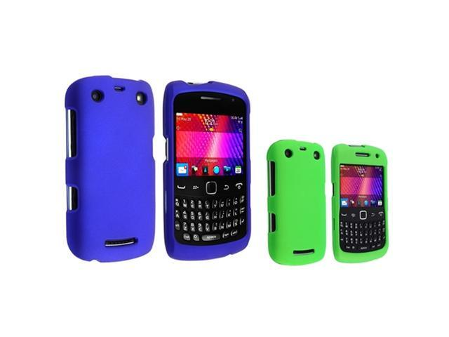 Blue+Green Rubberized Coated Cover Hard Case For Blackberry Curve 9350 9360 9370