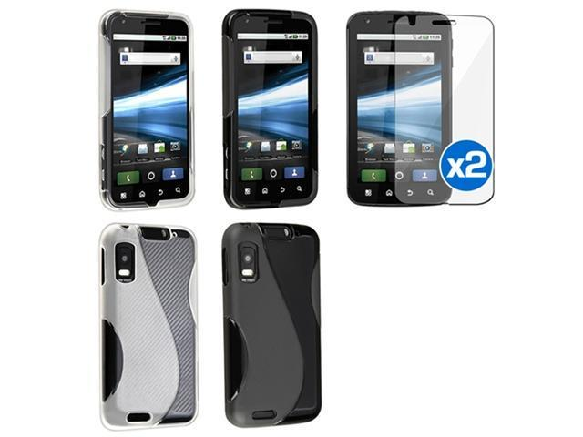 Frost Black+Clear White S Shape TPU Soft Case+2x LCD Guard For Motorola Atrix 4G