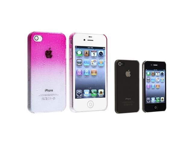 Pink+Smoke Ultra Thin Waterdrop Skin Case Accessory Compatible With ATT iPhone® 4 4S 4G 4GS