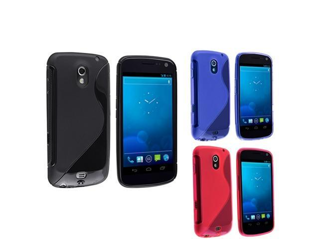 3pc Black+Blue+Pink Rubber Skin TPU Gel Case compatible with Samsung© Galaxy Nexus i515 i9250