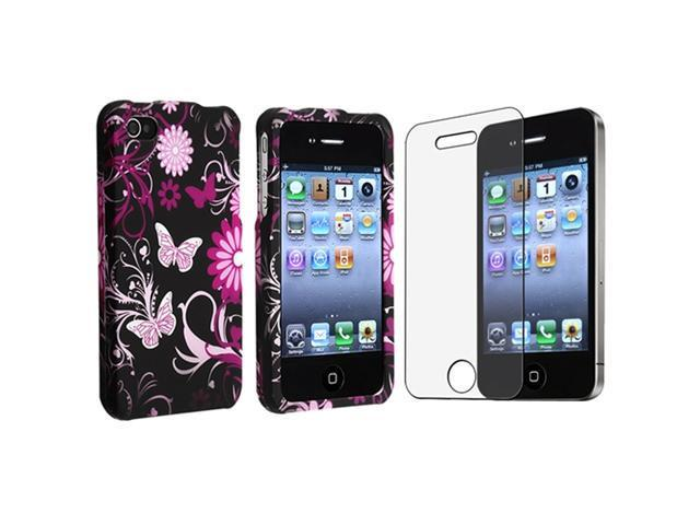 Pink/Black Butterfly Rubber Hard Cover Case+Anti-Glare Guard Compatible With iPhone® 4 4G 4S