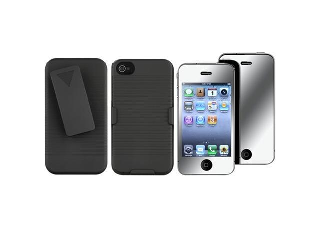 Black Swivel Holster with Stand+MIRROR LCD Protector Film Compatible With iPhone® 4 G 4S 4GS