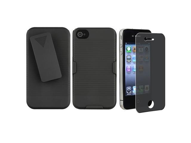 Black Swivel Holster with Stand+PRIVACY FILTER Film Guard Compatible With iPhone® 4 G 4GS 4S
