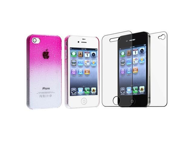 Pink Clear Waterdrop Hard Case Cover+Anti-Glare Protector Compatible With iPhone® 4 4th G 4S