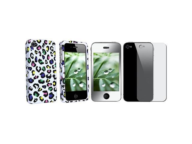 HARD LEOPARD CLIP-ON CASE+MIRROR FILM Compatible With iPhone® 4 4S 4GS 4G S