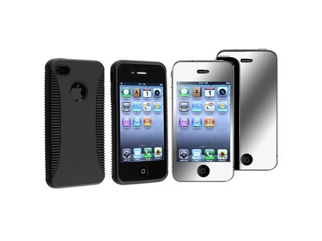 Hybrid Black Hard/TPU Rubber Skin Case Cover+MIRROR Protector Compatible With iPhone® 4 G 4S